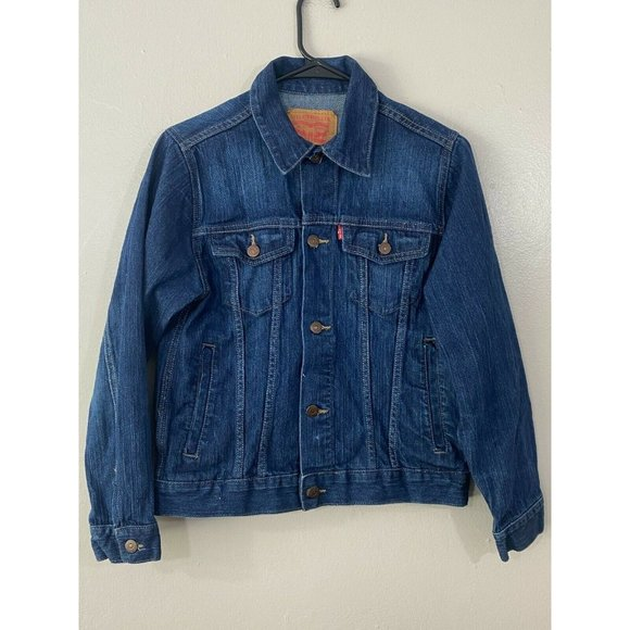 Levis Unisex Kids Blue Long Sleeve Collared Solid Casual Denim Jacket Size Large